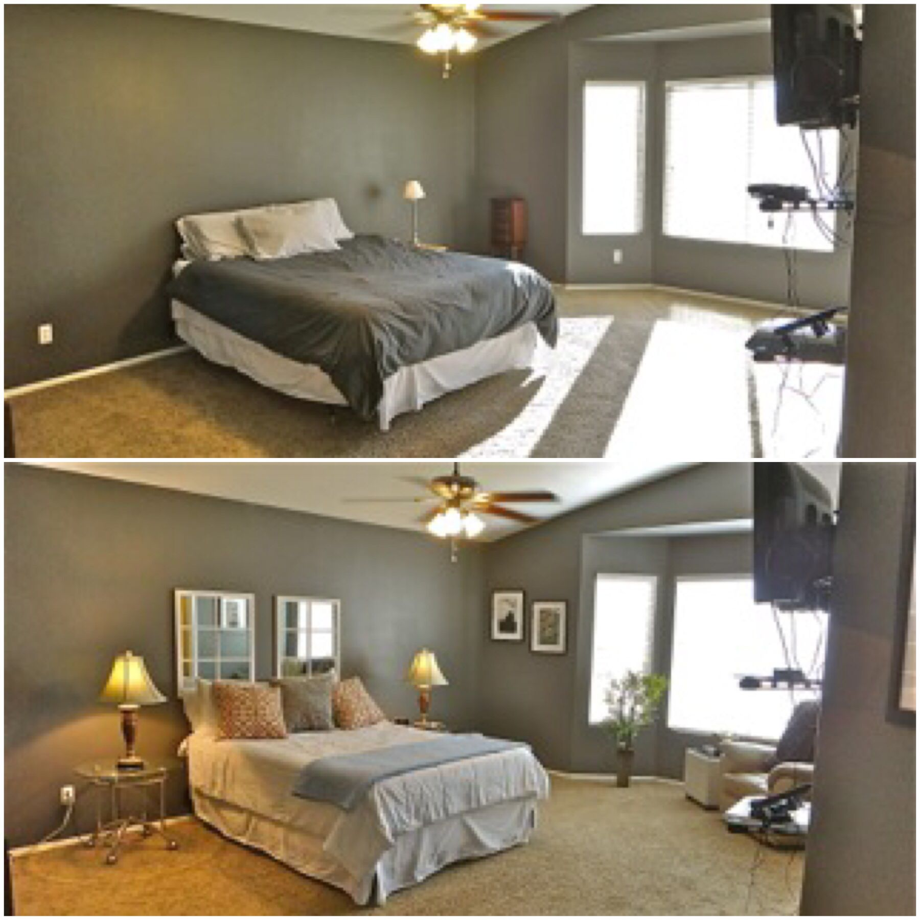 Before and After pictures of a staged master bedroom.