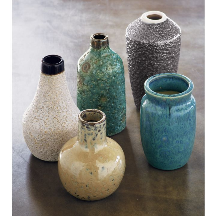 glazed mini vases set