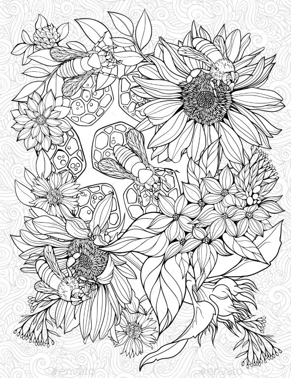 Coloring Page With Bees On Flowers Bee Coloring Pages Flower Coloring Pages Coloring Pages