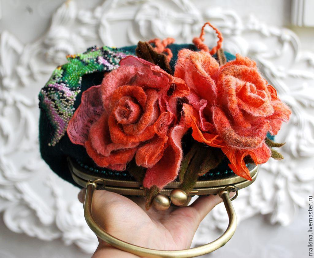 Купить Валяная сумочка и шапочка Осенний этюд - болотный, валяная сумочка, изумрудная сумочка
