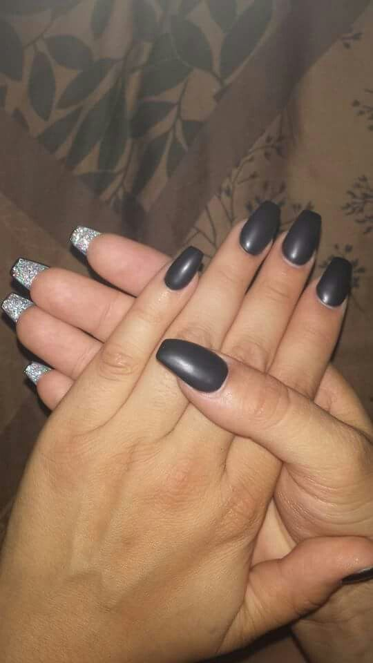 Black Matte Coffin Shape With Glitter Underneath Love My Nails