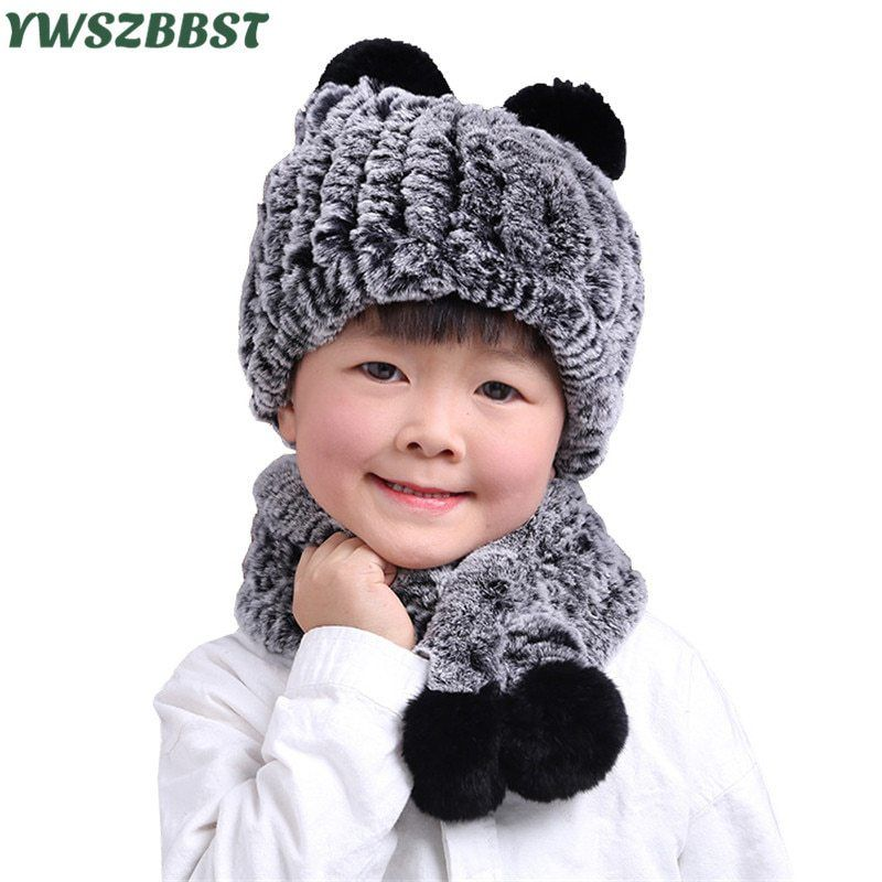 b5404b23ce4 Rex Rabbit Fur Autumn Winter Children Hat Scarf Children Beanies Cap Warm  Velvet Kids Baby Scarf Boys and Girls Beanies Cap now available on  Affordable ...