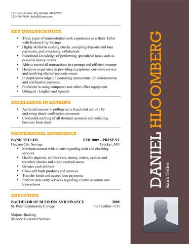 Bank Teller Resume Sample - Free Resume Template by Hloom - resume samples for banking professionals