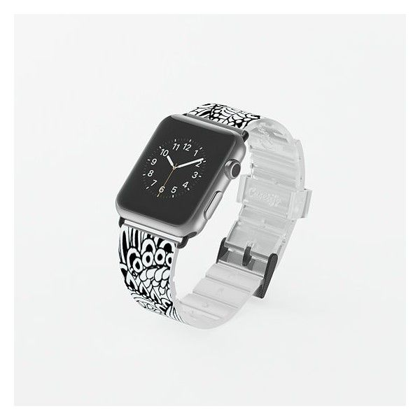 Apple Watch Band - Black and white ($70) ❤ liked on Polyvore featuring jewelry, watches, black and white watches, black white jewelry and black and white jewelry