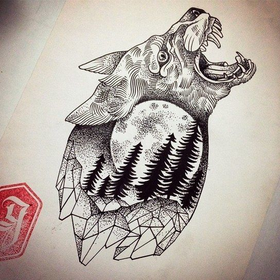 Evil Crying Wolf With Full Moon And Trees Pattern Inside Tattoo Design Tattoo Designs Geometric Art Tattoos