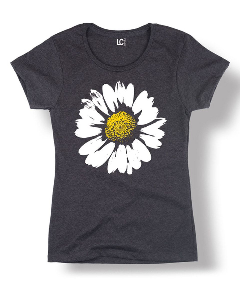 Look what I found on #zulily! Heather Charcoal Big Daisy Fitted Tee - Women by LC Trendz #zulilyfinds