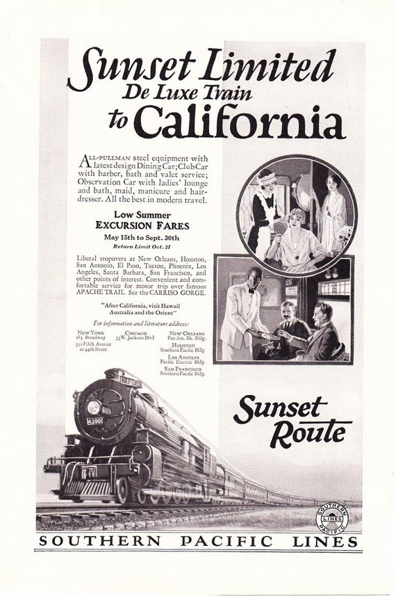 1920s Advertisement - Southern Pacific California Railroad