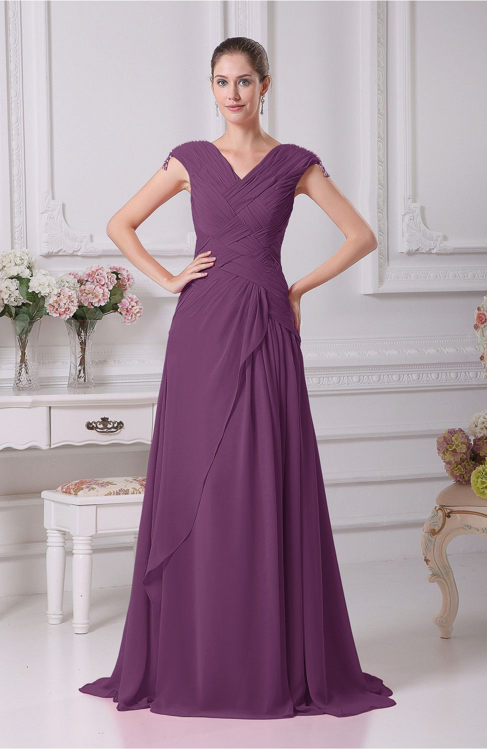 e3b98deab81 Raspberry Prom Dress - Elegant A-line V-neck Short Sleeve Chiffon Floor  Length