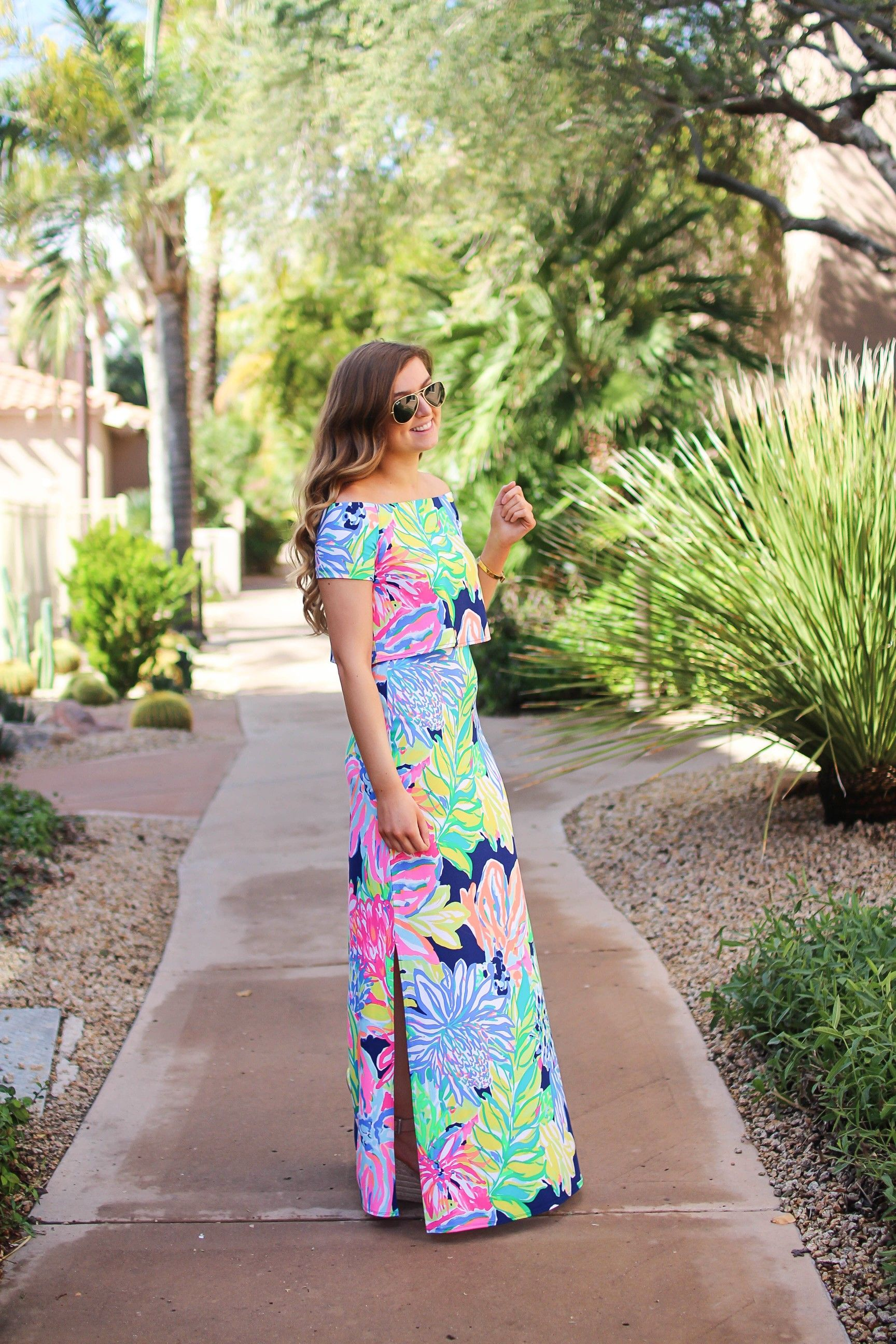 cbf0e736f7e3e2 Lilly Pulitzer two piece maxi dress in Navy Travelers Palm. I love  everything in the Resort Wear 365 collection this year! I paired this maxi  dress with my ...