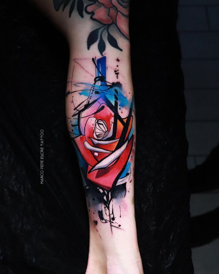 Rose from my workshop in Hardpainting watercolor #rose  Tatuaggio watercolor HardPainting freehand #rosetattoo Marco Pepe Encre Tattoosponsored @kreativecartridge done @encretattoo Napoli .#contemporarytattooing #tttpublishing #tattooistartmagazine #equilattera #tattrx #tattooselection #tattoomobile #radtattoos #tattoo2me #skinart_mag #inkstinctsubmission #inspirationtattoo #napoli #thinkbeforeuink #tattooersubmission #avantgarde #brushstroke #worldtattoogallery #hardpainting #abstract #watercol