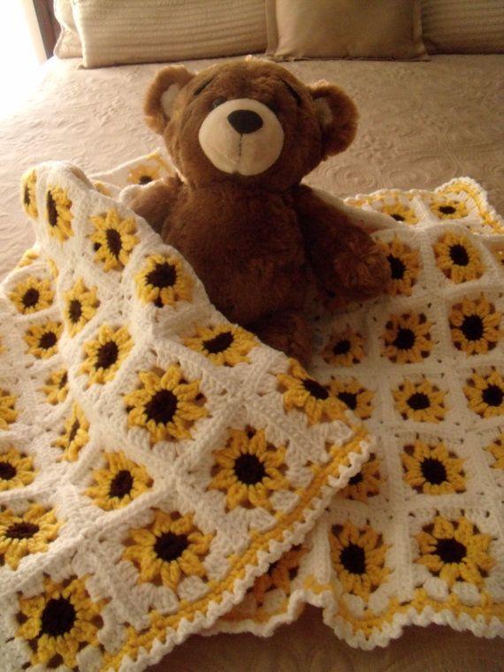 Photo of Adorable yellow sunflower crochet baby blanket/afghan, nursery blanket, baby girl, newborn, baby shower, sunflower blanket