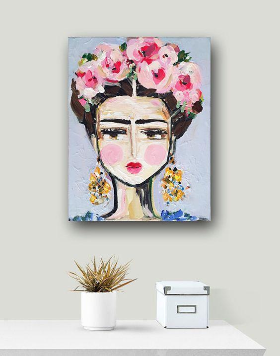 Frida Kahlo PRINT roses pretty portrait von DevinePaintings