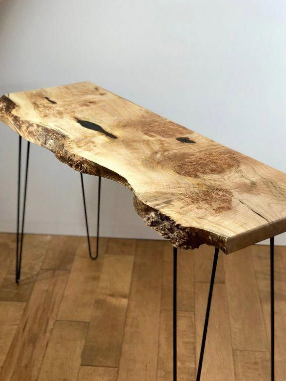 SOLD - Live Edge Maple Console Table, Modern Entry