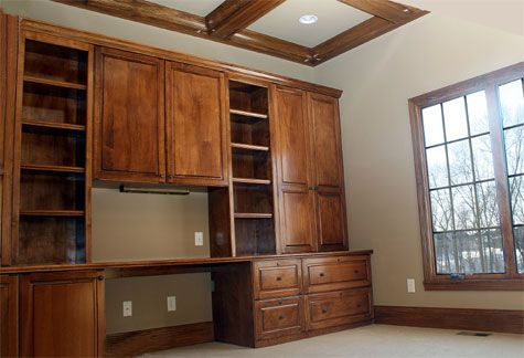 Home Office Custom Built Wall Unit Desk Wood Accented Ceiling Luxury Homes