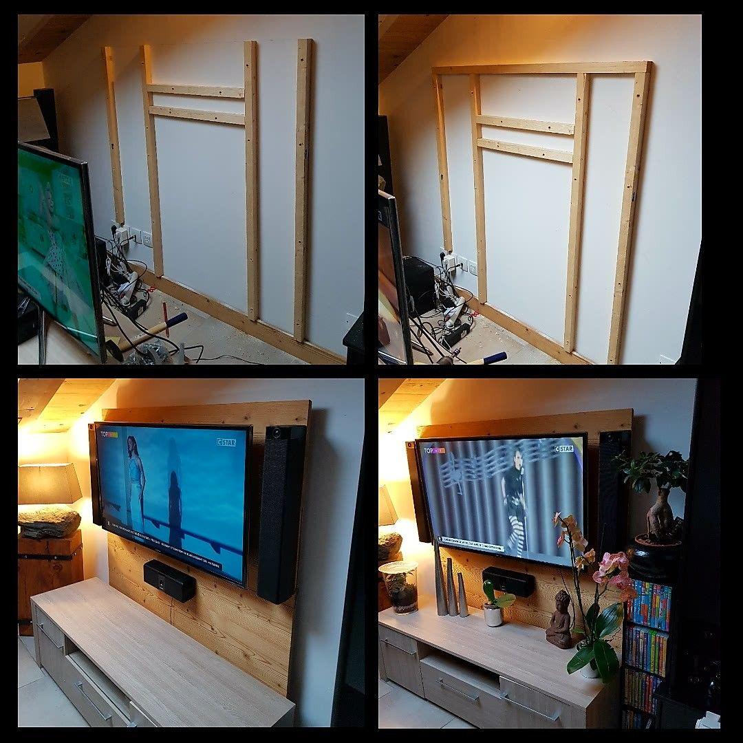 Support mural pour TV en bois de sapin thermo brossé   Support ...