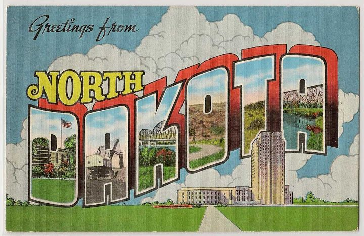 Greetings From North Dakota Vintage Linen Postcard From 1941