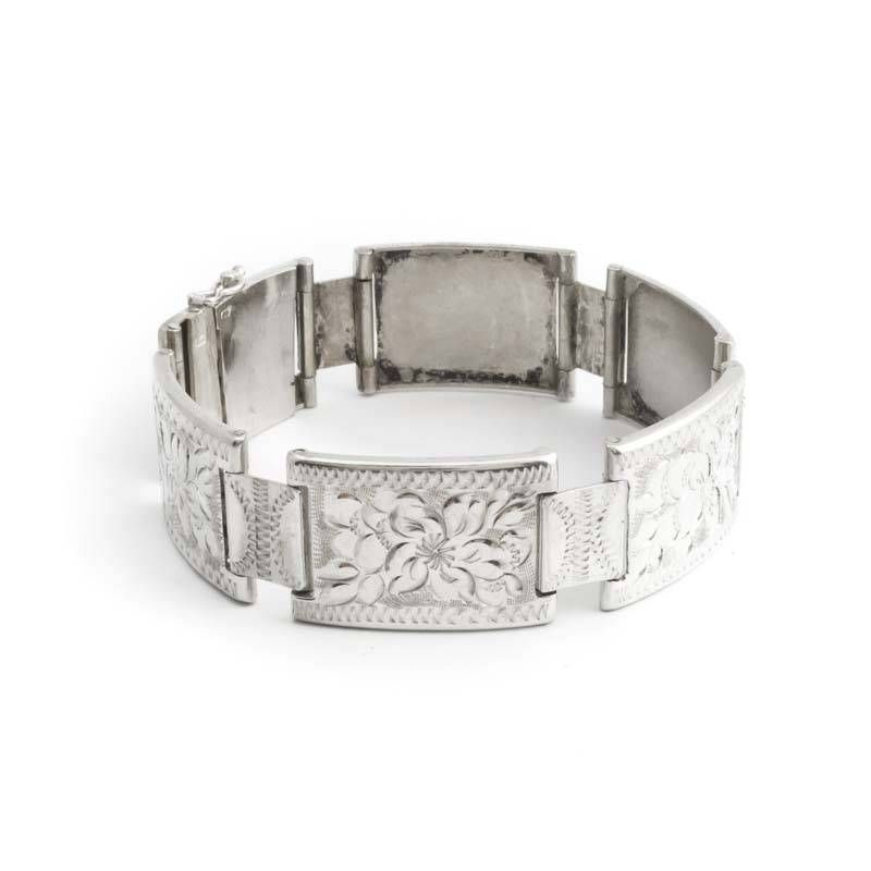 Aurora Patina Schitterende zilveren art nouveau armband met graveringen