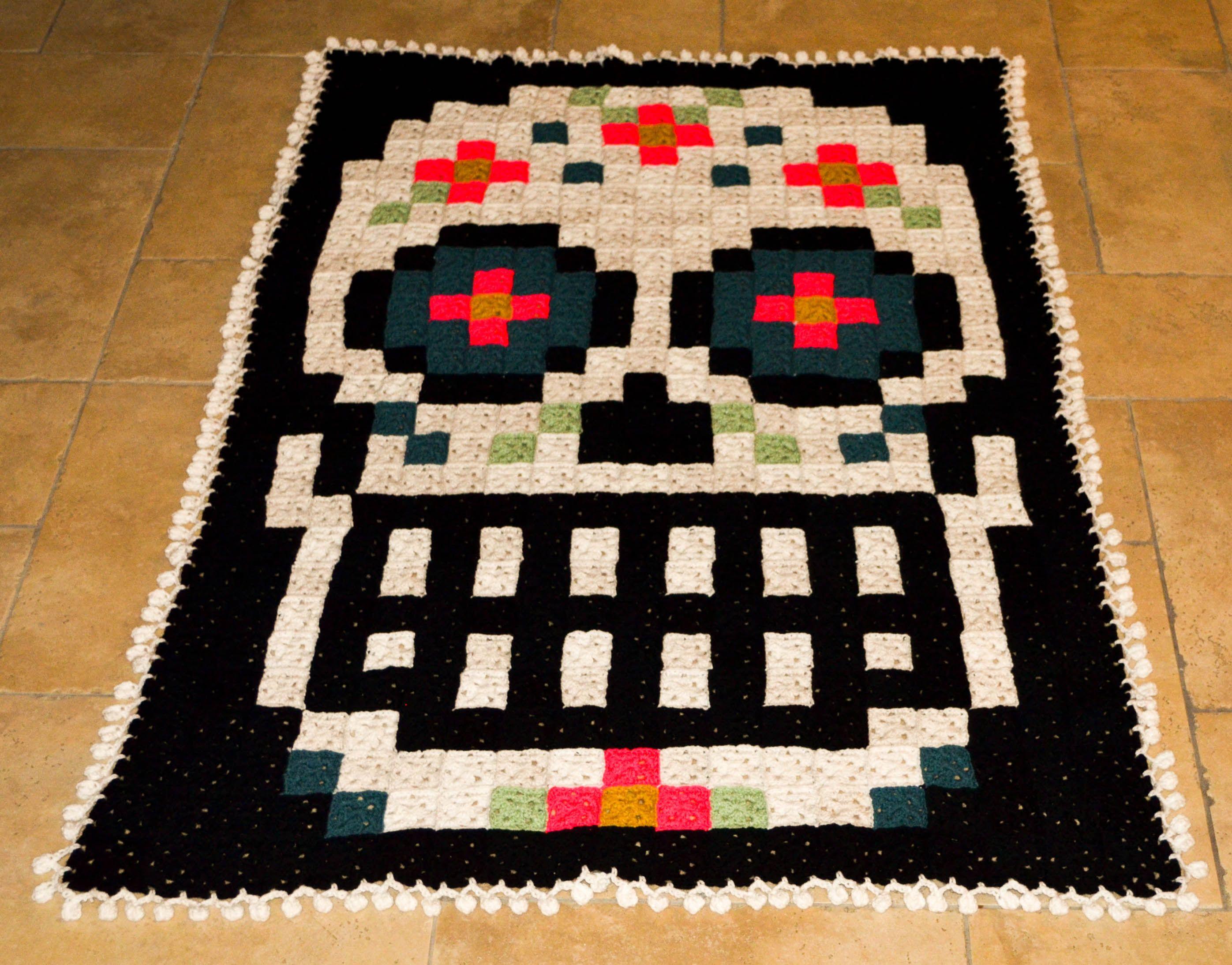 sugar skull pixel afghan | things i have made | Pinterest