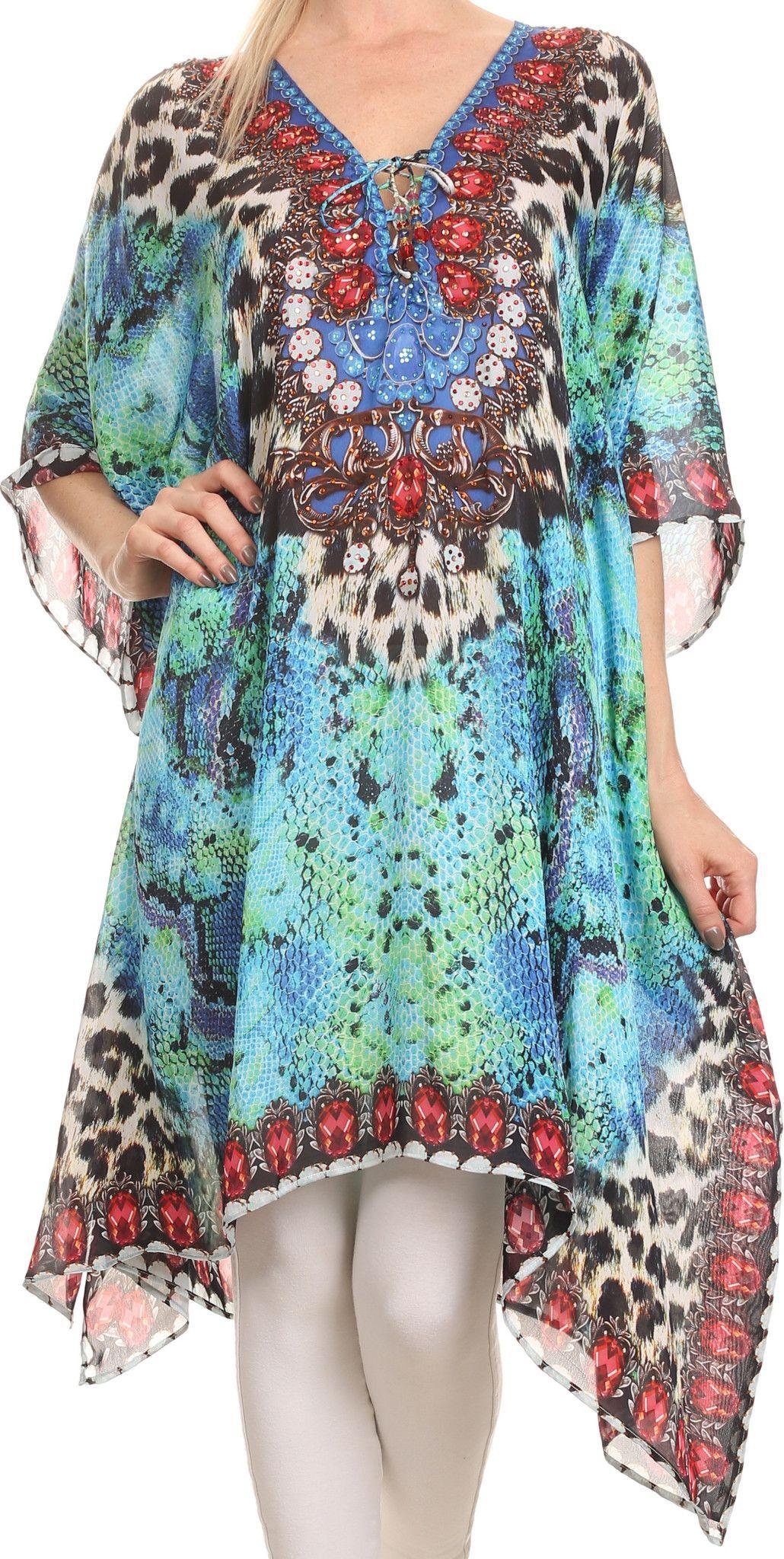 Sakkas Liv Ligthweight Summer Printed Short Caftan Dress Cover Up Caftan Dress Dress Cover Dresses [ 2048 x 1030 Pixel ]
