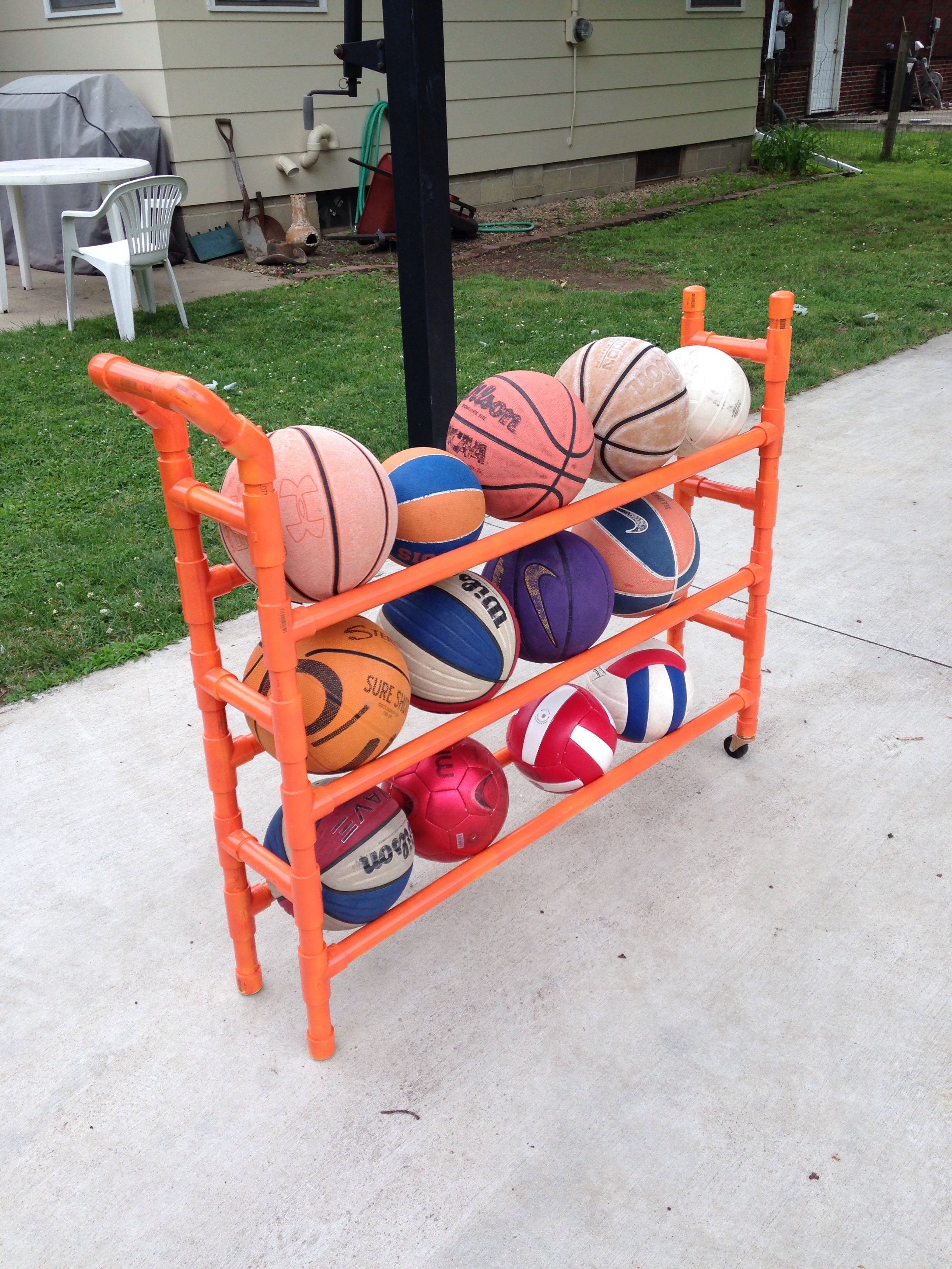 Pvc Ball Rack My Creations Pvc Pipe Projects Pvc Pipe