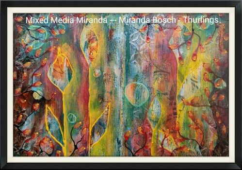 Intuitive Art journal spread. Mixed Media Miranda, Miranda Bosch - Thurlings.  Inspired by the techniques shown in this movie from Andy Skinner : Mixed Media Background Techniques with DecoArt Me…: http://youtu.be/rKvOyTGSO44.