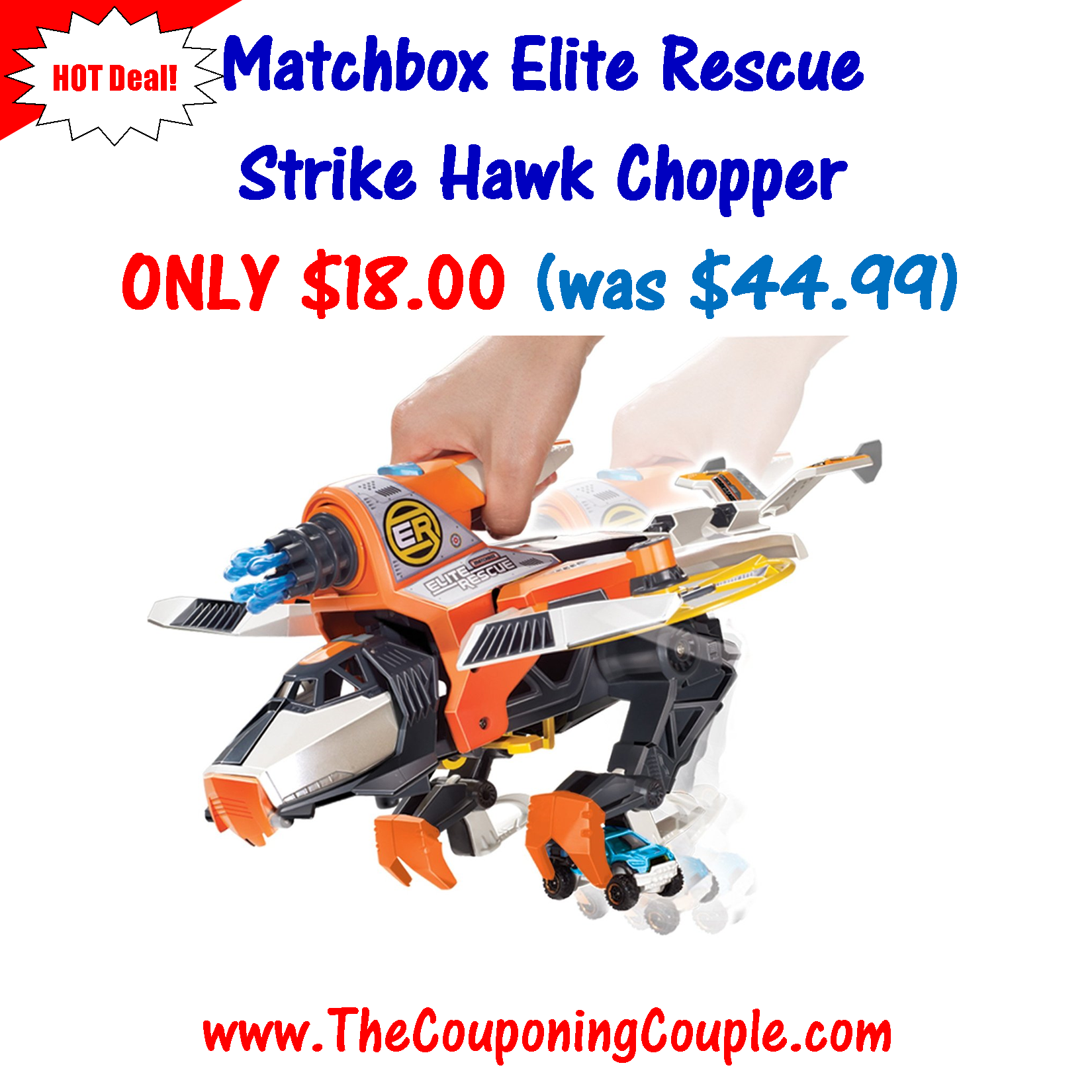 ***HOT GIFT IDEA ~ SAVE 60%*** Matchbox Elite Rescue Strike Hawk Chopper ONLY $18.00 (was $44.99)! Click the link below to get all of the details ► http://www.thecouponingcouple.com/matchbox-elite-rescue-strike-hawk-chopper/  #Coupons #Couponing #CouponCommunity  Visit us at http://www.thecouponingcouple.com for more great posts!