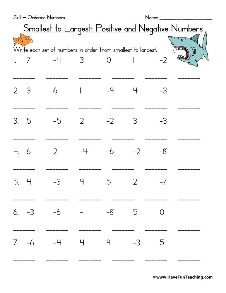 Ordering Positive And Negative Numbers Worksheet Negative Numbers Worksheet Number Worksheets Negative Numbers