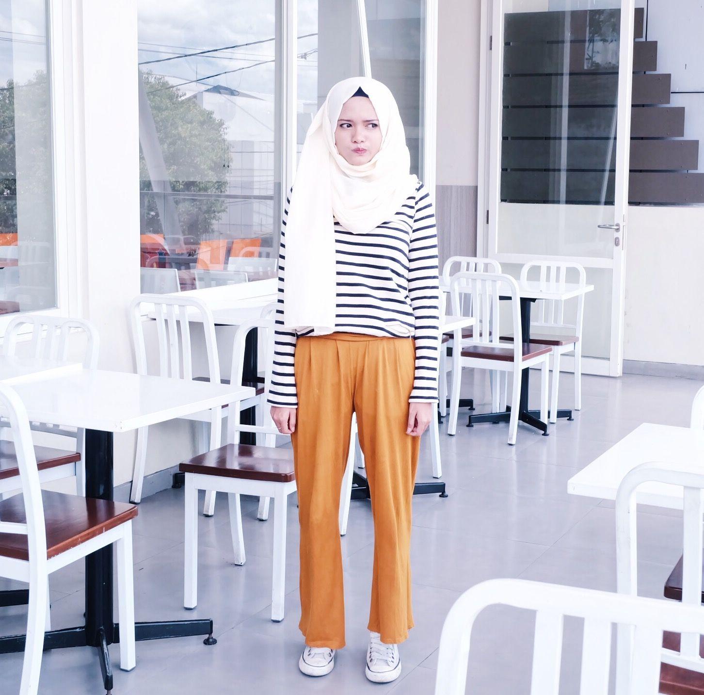 Stripe Top Mustard Wide Pants Sneakers School College Hijab Style