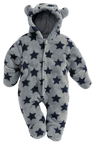 142945eb4 NEXT BOYS GREY/BLUE STAR QUILTED FLEECE PRAMSUIT/SNOWSUIT/ALL-IN-ONE ...