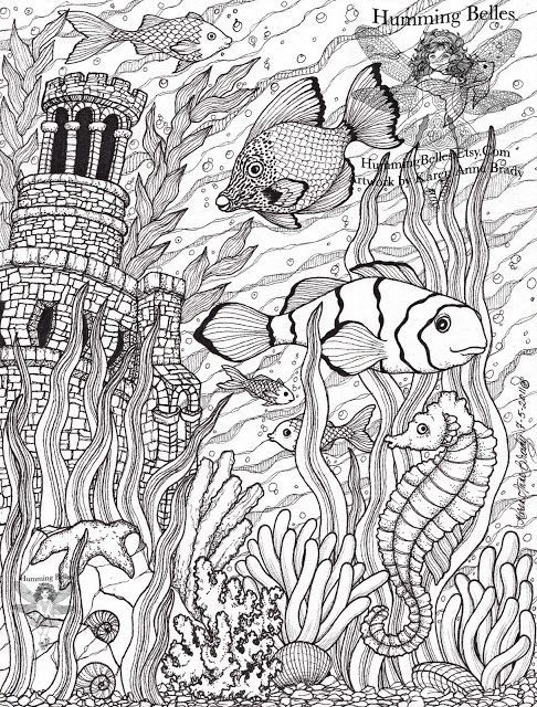 Fish Ocean Castle Seahorse Starfish Water Coloring pages colouring ...