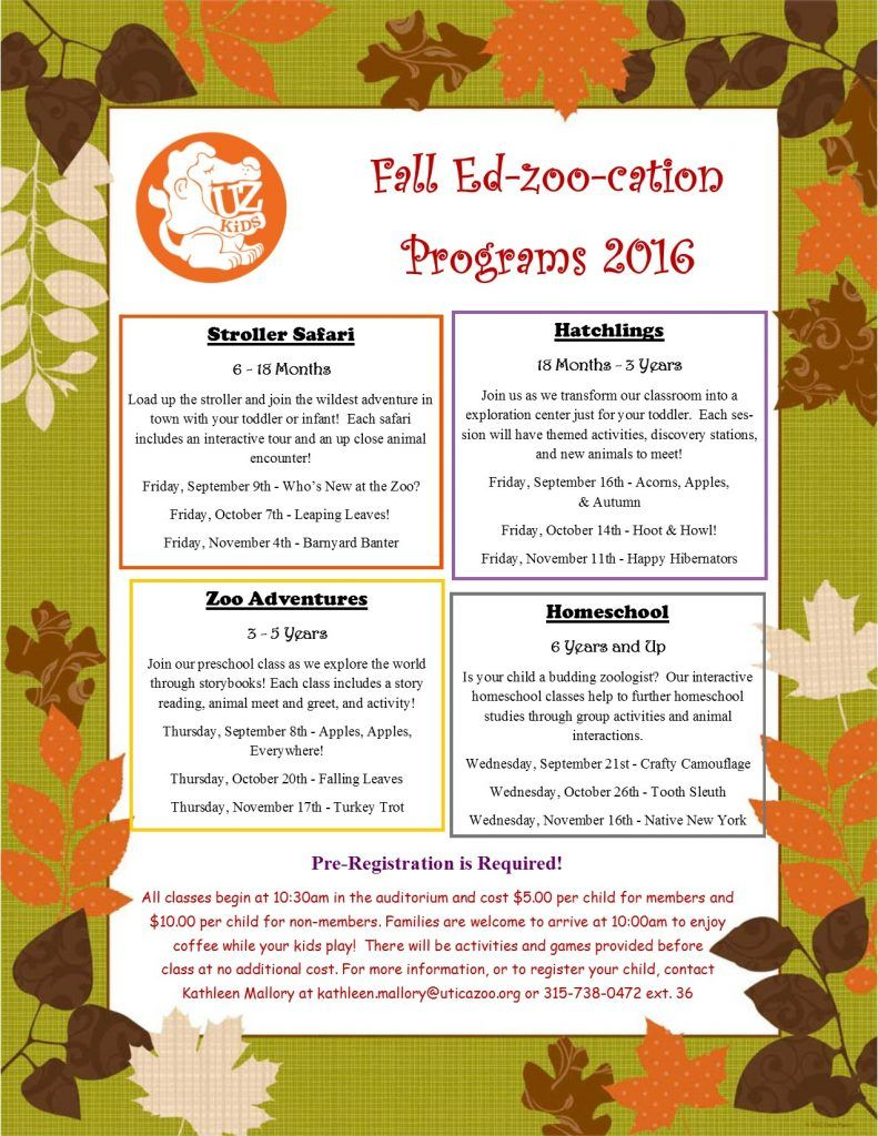 ere are Utica Zoo's Fall Education programs for 2016. Pre-registration is required. See registration information after the list of classes! #utica #zoo #education #students #zoology #central #newyork #ny #justgocny