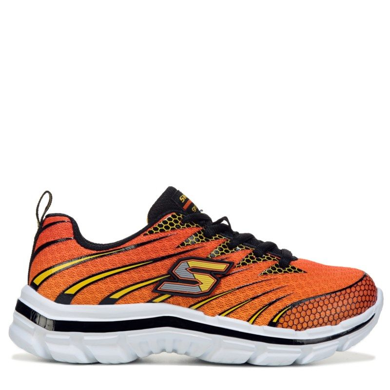 Skechers Kids' Nitrate Sneaker Pre/Grade School Shoes (Orange/Black)