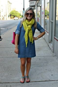 Chambray Dress A Light Weight Scarf Cute Teacher Outfit