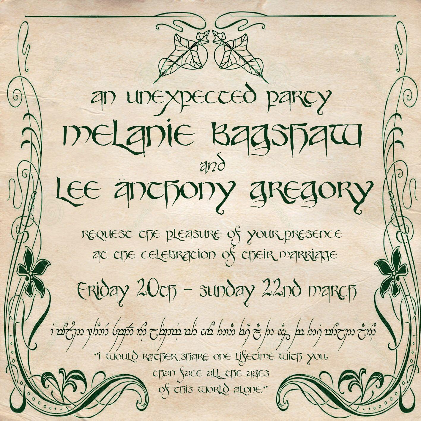 Lord of the Rings Elvish Square Custom Invitation | Pinterest ...