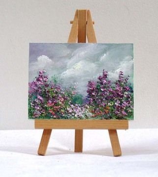 Garden Scene With Purple Flowers Gift Item Original Painting Includes Easel By Valdasfineart On Etsy