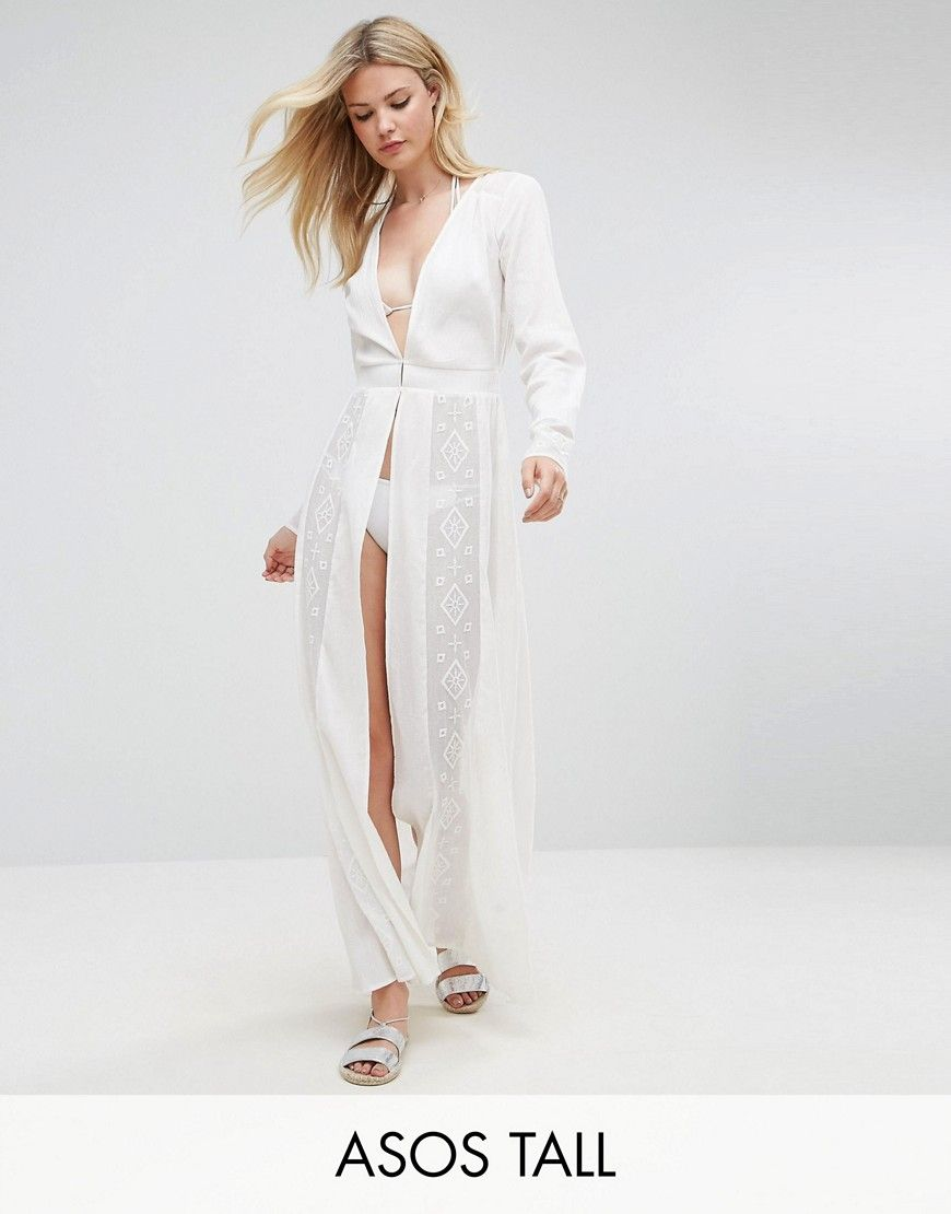 Asos tall beach premium embroidered maxi cover up with long sleeves