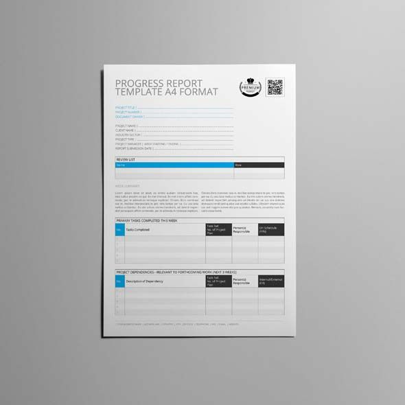 Progress Report Template A4 Format CMYK \ Print Ready Clean - progress reports templates