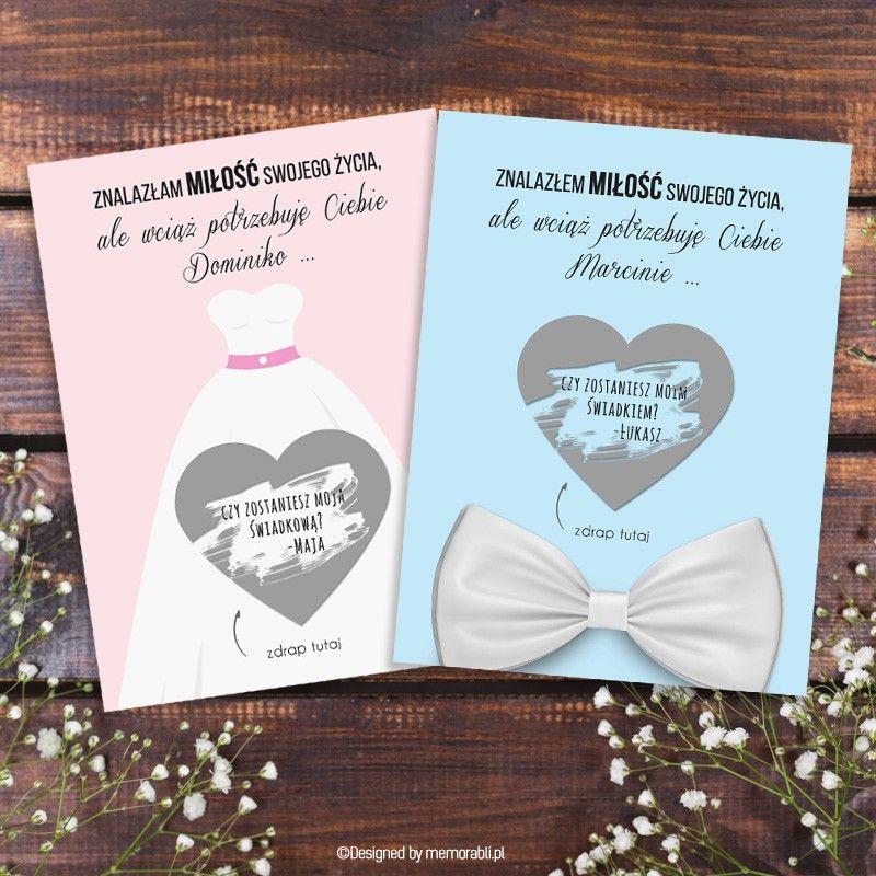 Zostaniesz Moja Swiadkowa Swiadkiem Suknia I Mucha Kartka Zdrapka Wedding Invitations Invitations Wedding