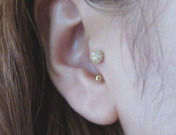 10K Solid Gold piercingPave CZ ball PiercingHelix piercing