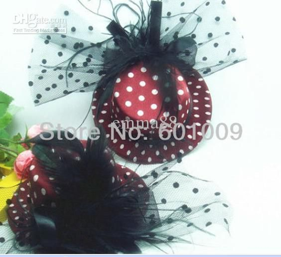 Wholesale 20/Lot Glimmer Hen Party Felt Feather Mini top Hat/ Hair fascinator Hair Clip Hair Acc, Free shipping, $2.34-2.77/Piece | DHgate
