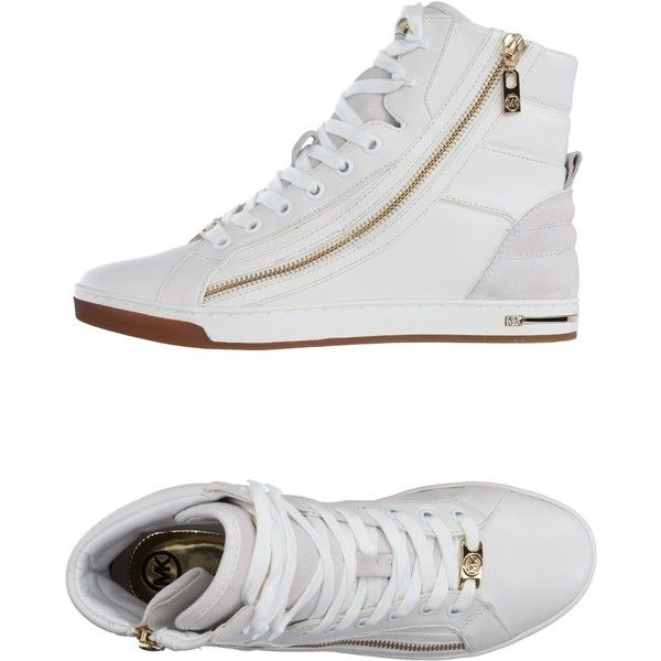 Michael Michael Kors High-tops & Trainers ($205) ❤ liked on Polyvore featuring shoes, sneakers, white, flat shoes, leather high top sneakers, high top sneakers, white high tops and michael michael kors shoes