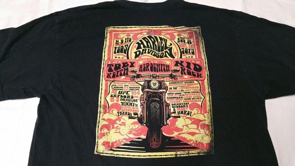 Harley Davidson 2013 Milwaukee Concert T Shirt 2xl Aerosmith Kid Rock Toby Keith Delta Graphictee Concert Tshirts Mens Tops Mens Tshirts