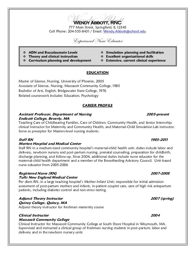 Resume After College Undergraduate Nursing Student Resume After Wendy Abbott Nurse