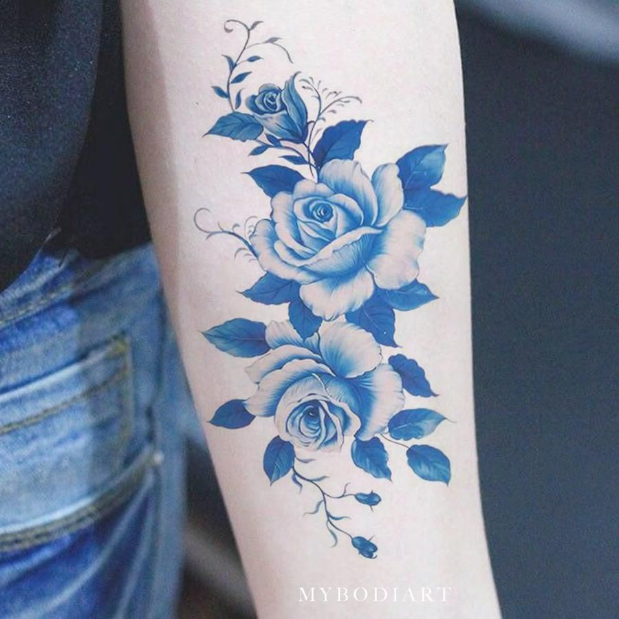 Blue Flower Tattoo Designs: Beautiful Vintage Blue Flower Forearm Temporary Tattoo