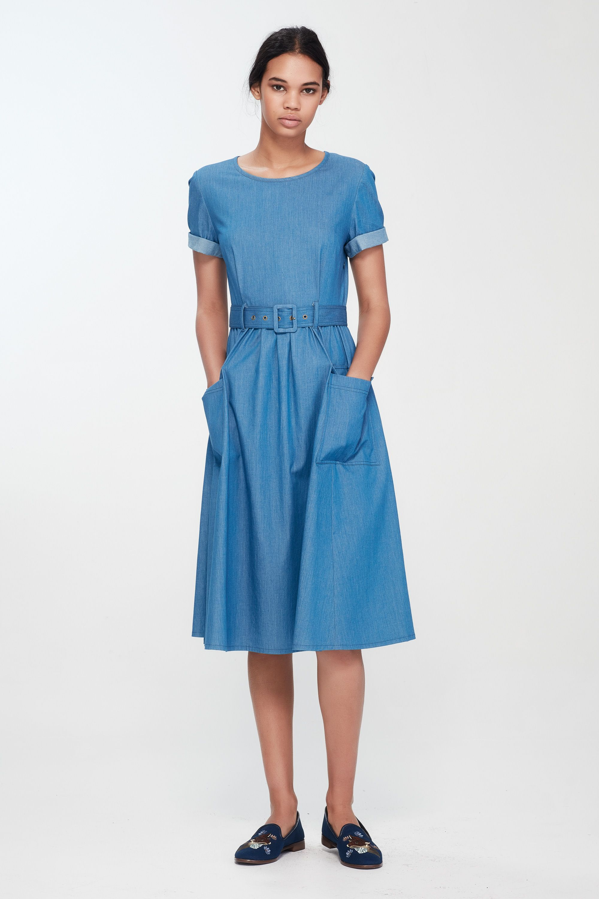 a36d5d7be2273e Chambray belted up dress — Kate Sylvester | Perfect Everyday Dresses ...