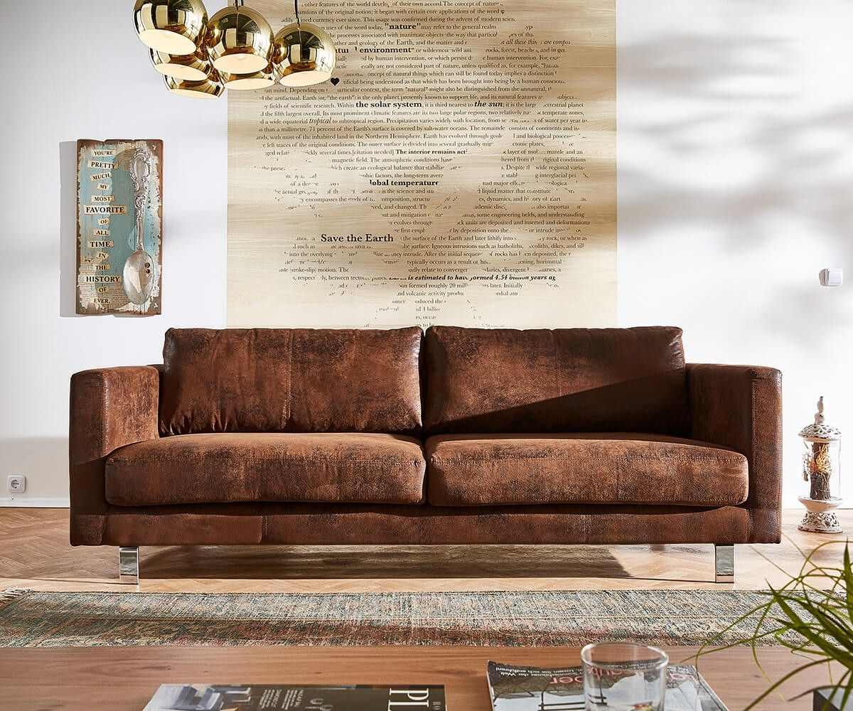 3 Sitzer Baracca 220x95 Braun Antik Optik Bauhausstil Sofa Möbel Sofas 2 U0026  3u2026