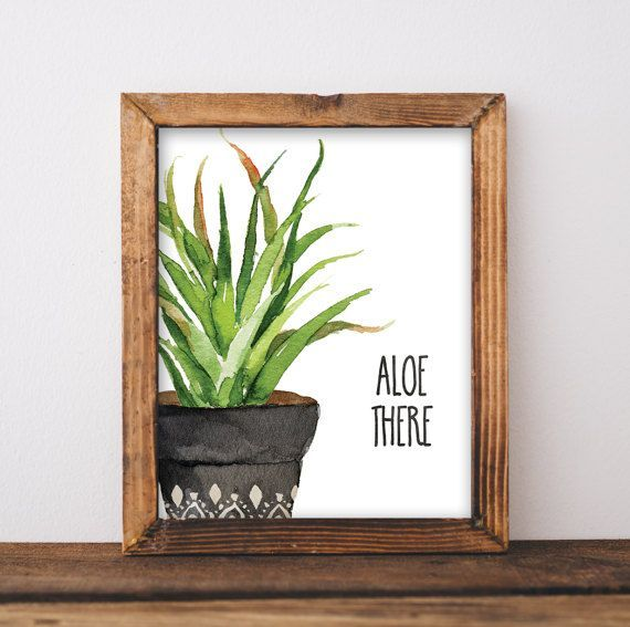 Succulent Print - Cactus Print - Aloe Print - Pun Print - Botanical Watercolor Art - Watercolor Succulent - Aloe - Instant Download 8x10