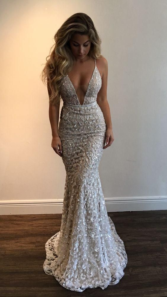 Gorgeous Deep V-Neck Spaghetti Straps Sleeveless Mermaid Long Prom ...