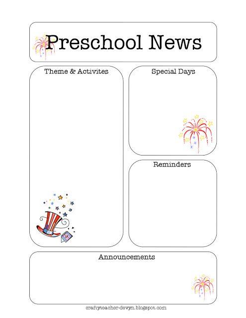 The Crafty Teacher July Preschool Newsletter Template  Creative