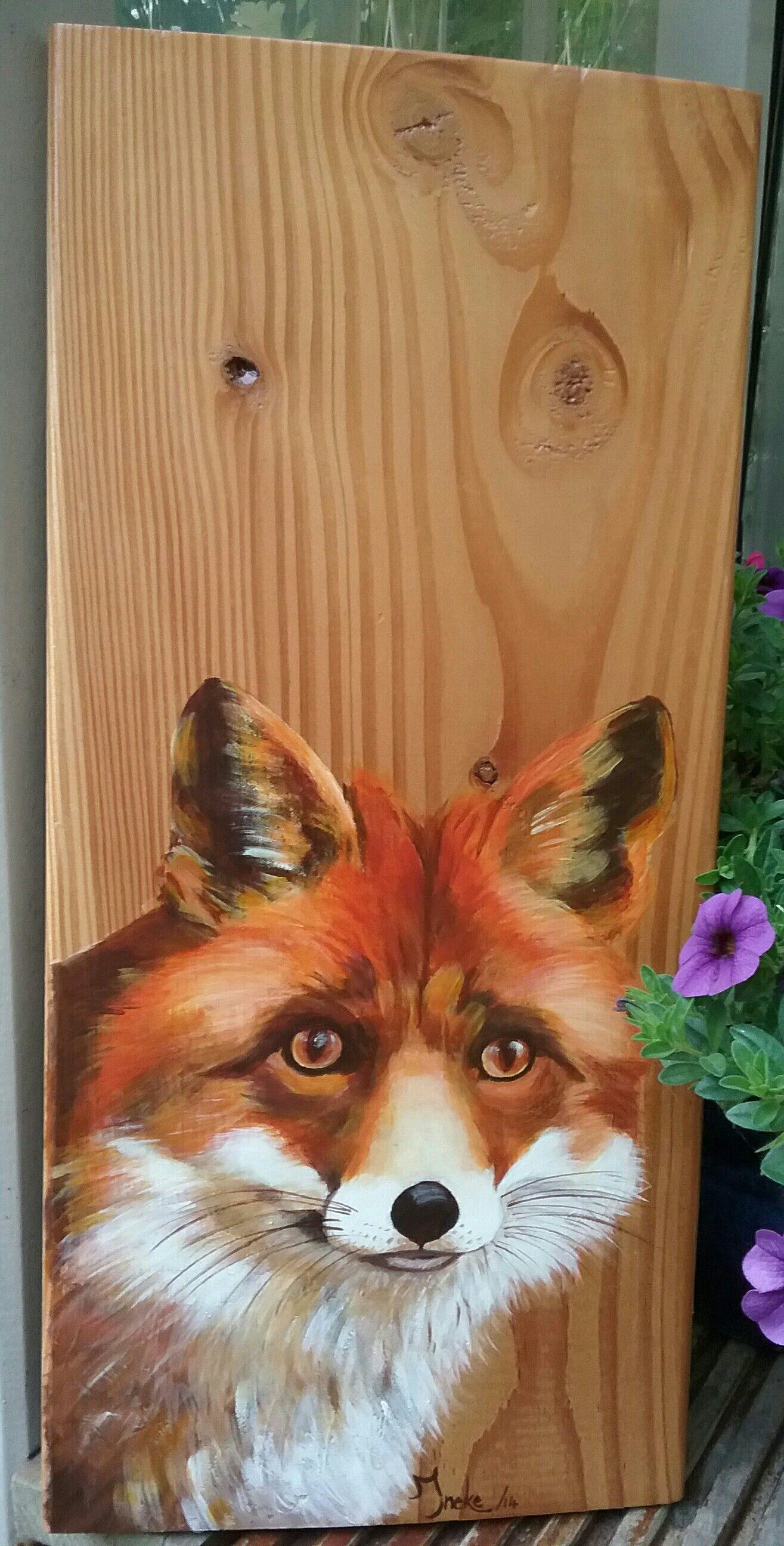 Spiksplinternieuw Vrouwtjes vos met acryl geschilderd op larixhout door Ineke Nolles ND-56
